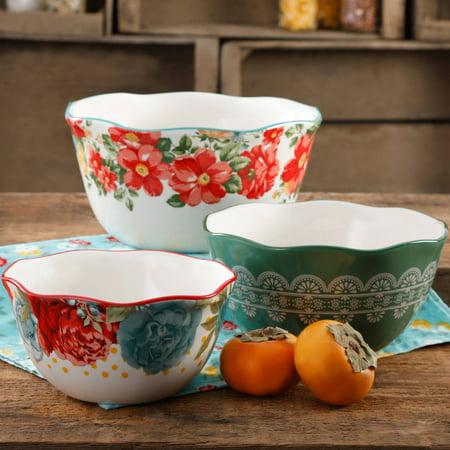 The Pioneer Woman Vintage Floral 3-Piece Serving Bowl Set