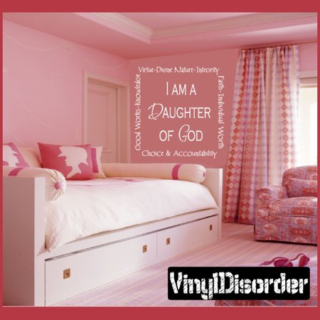 I am a Daughter of God Tile Layouts Vinyl Wall Decal Sticker Mural Quotes Words TL038 36 Inches