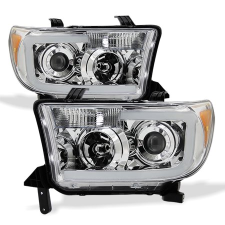 Fits 2007-13 Toyota Tundra | 2008-17 Sequoia SMD LED Tube Projector Headlights ()