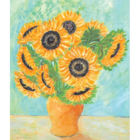 Sunflowers  Vase by Loughl 7x5 (card) PosterGUILFORD CT MODERN DAY VANGOGH FLOWERS  A VASE SUNFLOWERS TABLE SETTING  ISI ARTIST AMAZING ARTIST ()