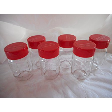 Yellow Treat Jar (Mini Mason Jar Spice dispenser - Red 6 Pack )
