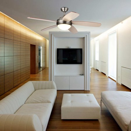 54-Inch Ceiling Fan with Five Cherry/Walnut Plywood Blades and Etched Opal Glass LED Light Kit, Antique Pewter Finish
