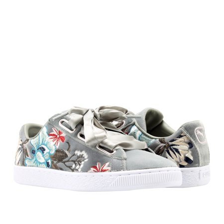Puma Basket Heart Hyper EMB Rock Ridge Grey Floral Women
