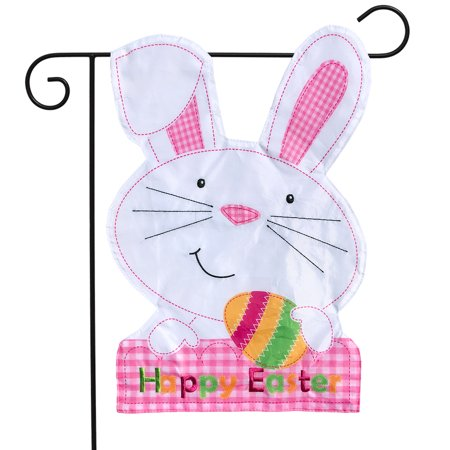 "Easter Bunny Applique Garden Flag Holiday Sclupted 12.5"" x 18"""