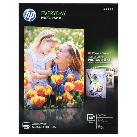HP, HEWCH097A, Everyday Photo 5x7 Glossy Paper, 1 / Pack, White ()