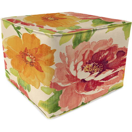 Jordan Manufacturing Square Outdoor Patio Pouf Ottoman, Muree Primrose