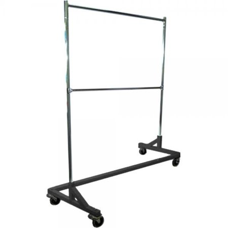 Only Hangers Deluxe Commercial Grade Rolling Z Garment Rack with Nesting Base, 400lb Capacity, Gloss Black GR600-EH 63