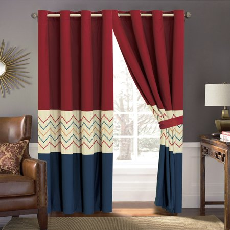 4-Pc Tommi Chevron ZigZag Herringbone Embroidery Curtain Set Blue Red Beige Drape Sheer Liner](Red Chevron)