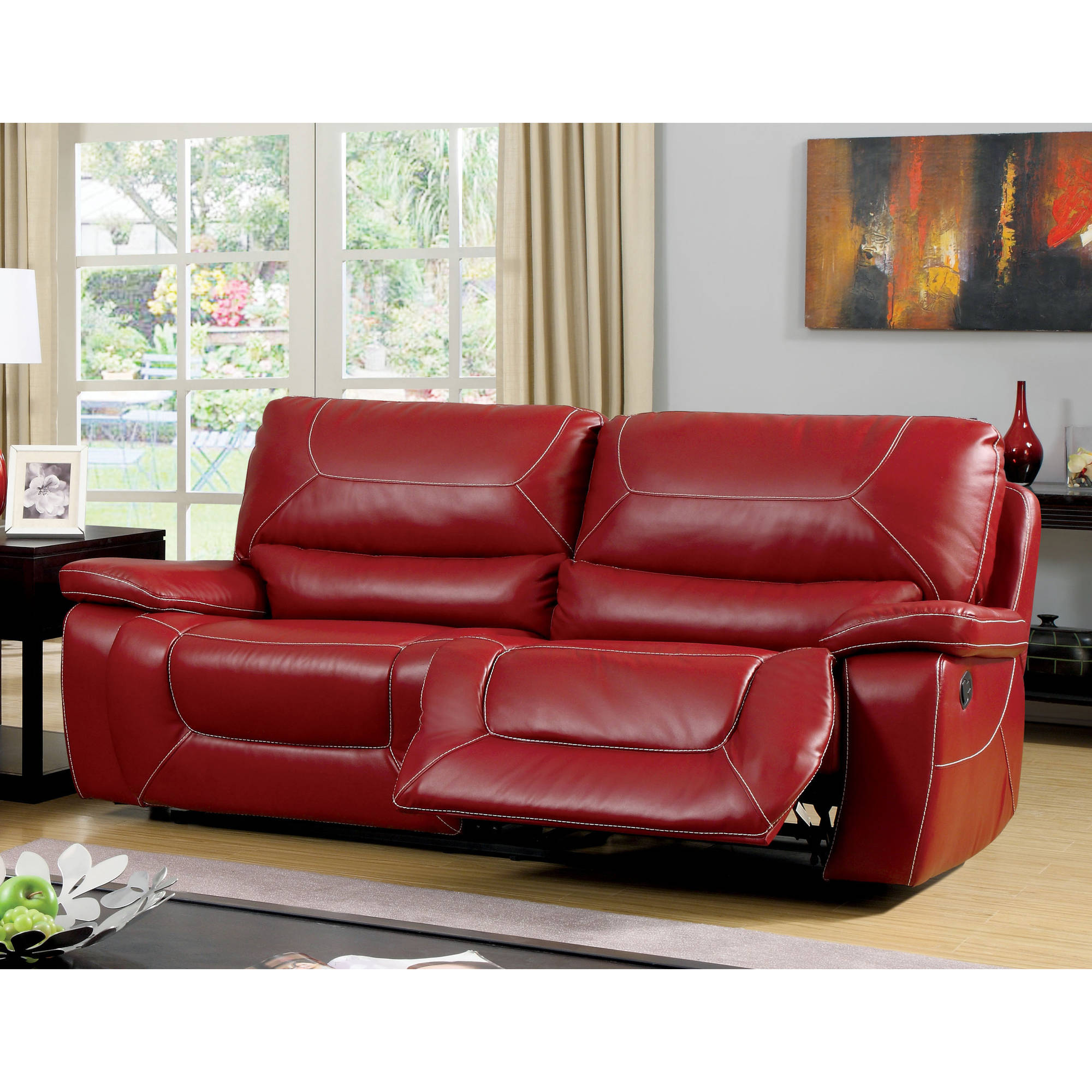 Furniture of America Baxter Contemporary Reclining Sofa, Red