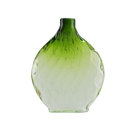 115 Disc Shaped Transparent Forest Green Ombre Hand Blown Glass