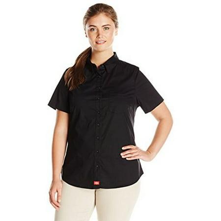 Dickies Womens Plus Size Short Sleeve Button Down Shirt