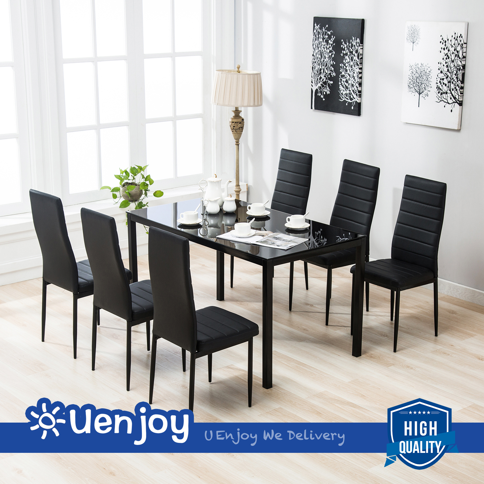 Mecor 7 Piece Dining Table Set 6 Chairs Black Glass Metal Kitchen Room Furniture