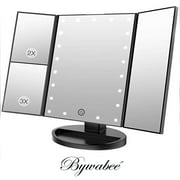 Bywabe Black Tri Fold Lighted Vanity Makeup Mirror w/ 22 LED Touch Screen