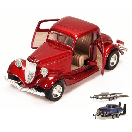 Diecast Car & Trailer Package - 1934 Ford Coupe, Red - Motormax 73217 - 1/24 scale Diecast Model Toy Car w/Trailer -  ModelToyCars