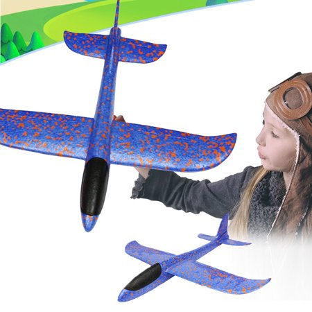 New Style Children Airplane Model Toy Hand Launch Throwing Airplane Colorful Foam Swing Glider Toys(Blue) - Foam Gliders