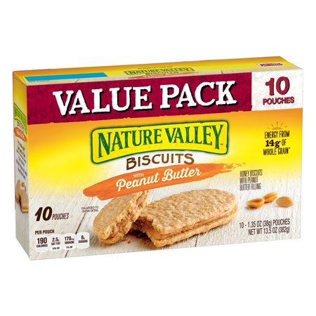 Nature Valley Peanut Butter Granola Bars ((3 Pack) Nature Valley Biscuits With Peanut Butter, 13.5 oz, 10 Count)