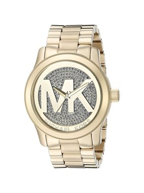 f77df17ce5af Michael Kors Women s Runway Pave Logo Gold-Tone Stainless.