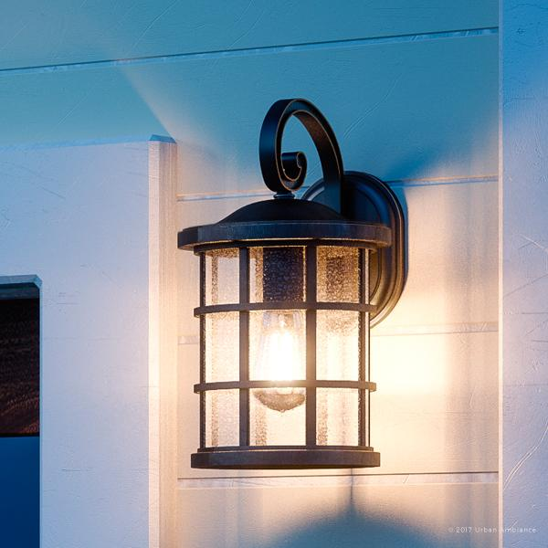 """Urban Ambiance Luxury Craftsman Outdoor Wall Light, Small Size: 11""""H x 6""""W, with Tudor Style Elements, Wrought Iron Design, Oil Rubbed Parisian Bronze Finish and Seeded Glass, UQL1041"""