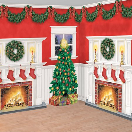 Christmas Fireplace Scene Setter Kit](Vintage Cardboard Fireplace)