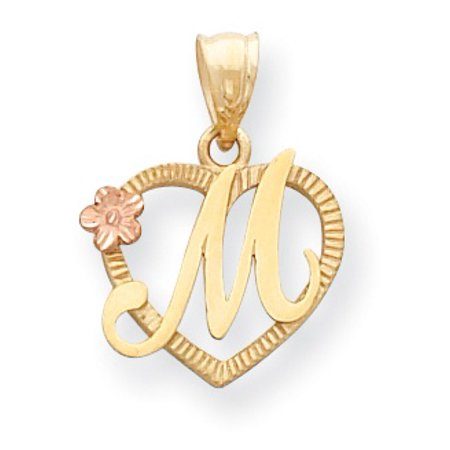 Roy Rose Jewelry - 14K Two-tone Gold Initial Letter M in
