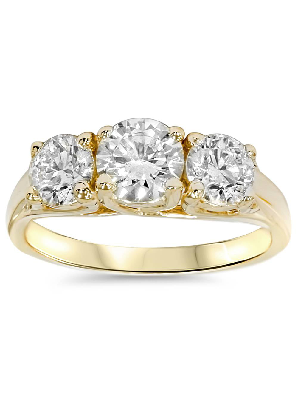 2ct Round Diamond 3-Stone Engagement Ring 14K Yellow Gold Solitaire Round Cut by Pompeii3