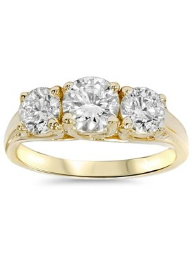 2ct Round Diamond 3-Stone Engagement Ring 14K Yellow Gold Solitaire Round Cut