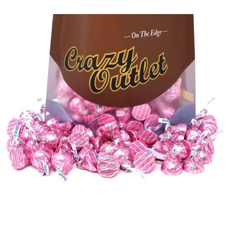 Hershey's Kisses Hugs White Crème Candy, Pink Silver Stripe Foils (Pack of 2 Pounds) ()