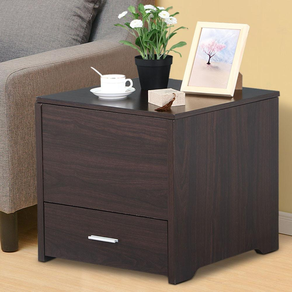 Yaheetech Bedside Table Cabinet Storage Wood Drawer and Sliding Top Sofa Side End Table Bedroom Living Room Furniture Espresso