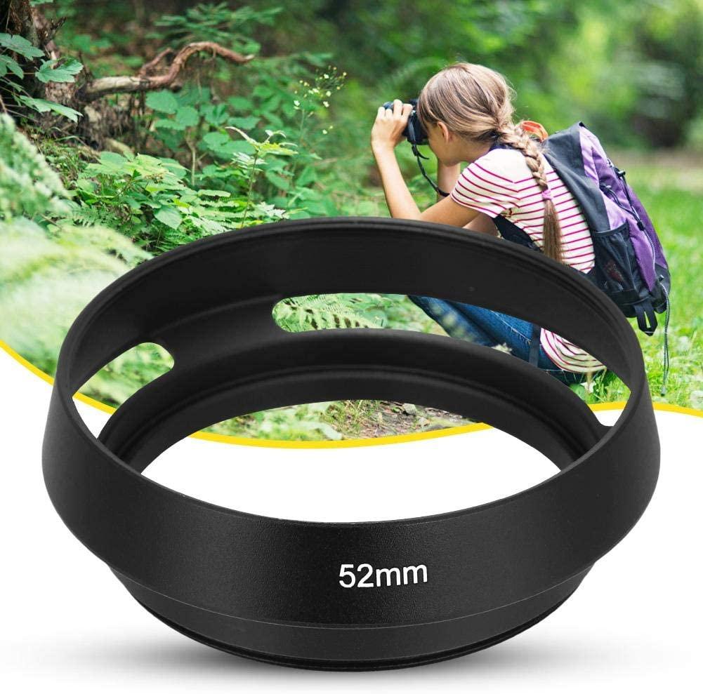 Silver Lens Hood 52MM Portable Universal Aluminium Alloy Hollow Camera Bevel Lens Hood Shade Replacement