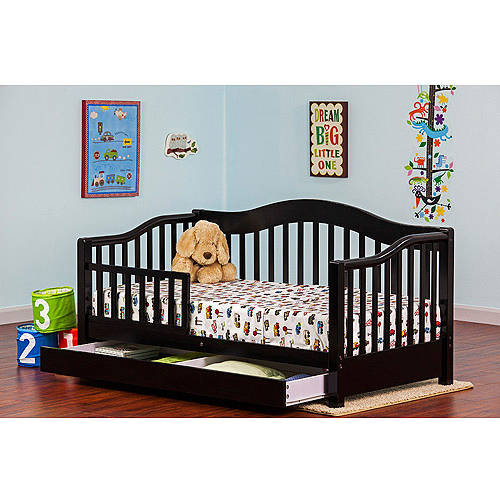 Dream On Me Toddler Day Bed with Storage Drawer, Black
