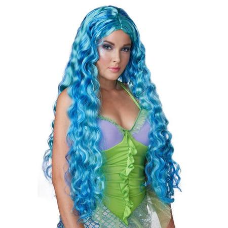 de26d290547b7 Sea Siren Mermaid Blue Teal Adult Women's Wig Cosplay Anime Long Full Wavy  Curls