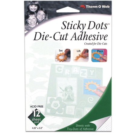 Therm O Web Sticky Dots Adhesive Sheets 12-Pack, Sticky Dot Die-Cut Adhesive Sheets-4.25