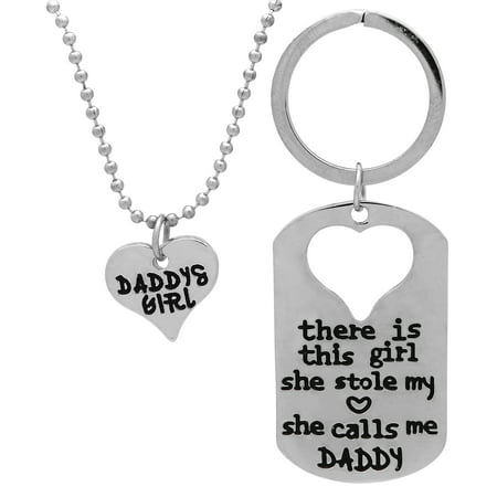 Art Attack Silvertone Daddy's Girl Daughter Father Bond Stole My Heart Pendant Necklace Keychain Gift Combo