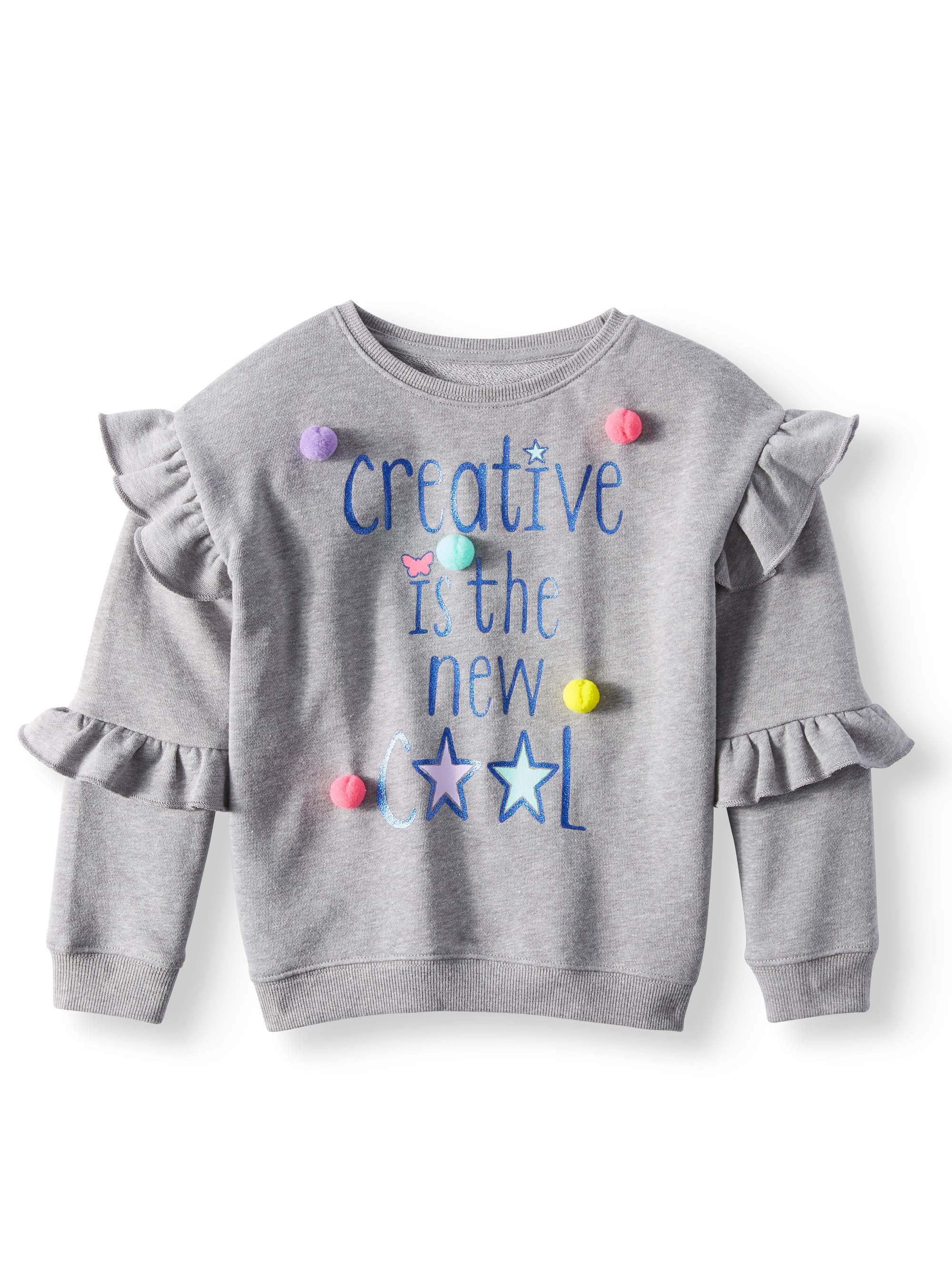Girls' Double Ruffle Sleeve Graphic Sweatshirt