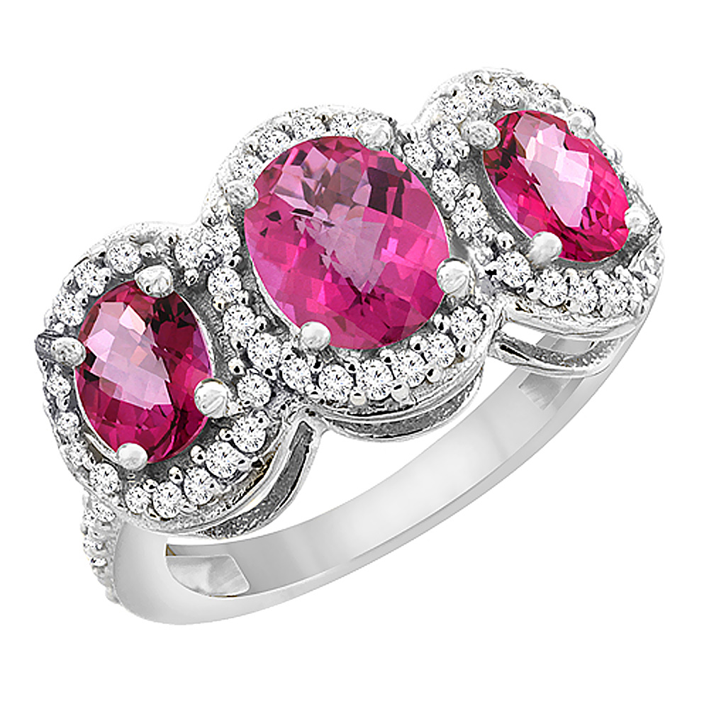 10K White Gold Natural Pink Sapphire & Pink Topaz 3-Stone Ring Oval Diamond Accent, size 5 by Gabriella Gold