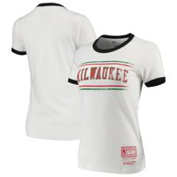Milwaukee Bucks Mitchell & Ness Women's Ringer T-Shirt - White