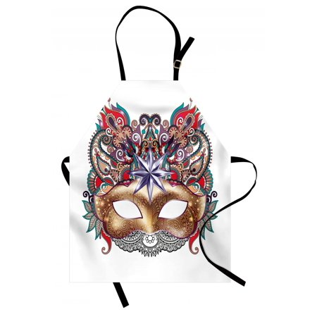 Mardi Gras Apron Venetian Carnival Mask Silhouette with Ornamental Elements Masquerade Costume, Unisex Kitchen Bib Apron with Adjustable Neck for Cooking Baking Gardening, Multicolor, by Ambesonne (Venetian Mardi Gras Costumes)