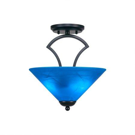 Toltec Lighting Zilo 2 Bulb Semi Flush Mount Shown In Matte Black Finish With Glass Shade