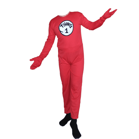 Cosplay Men (Thing 1 Cat In The Hat Adult Costume Body Suit Spandex Halloween Cosplay)