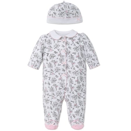 Bird Toile Snap Front Footie Pajamas with Mary Jane Feet and Hat For Baby  Girls Sleep N Play One Piece Romper Coverall Cotton Infant Footed Sleeper   ... d86ccf9d2