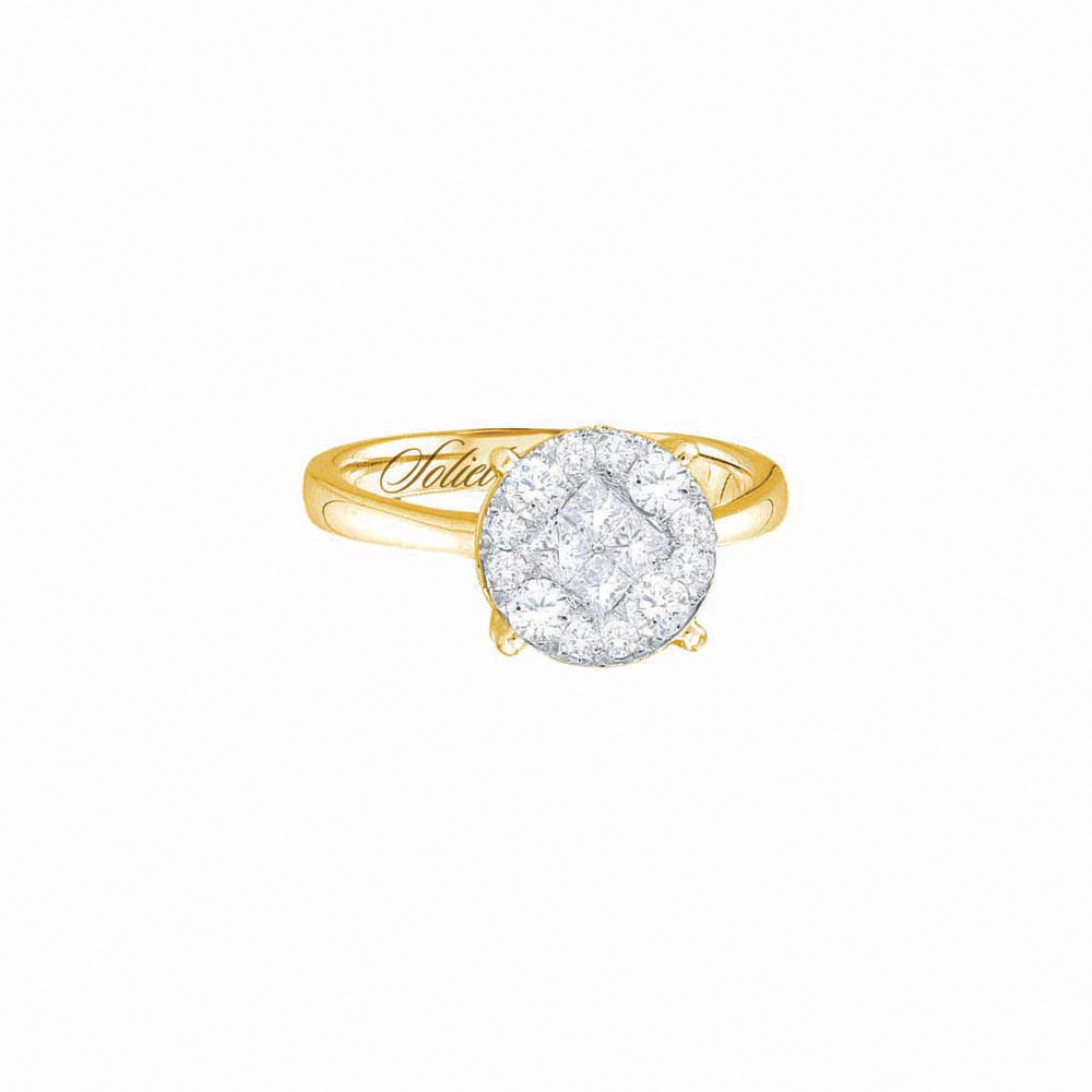 14kt Yellow Gold Womens Diamond Soleil Cluster Bridal Wedding Engagement Ring 1.00 Cttw by GND