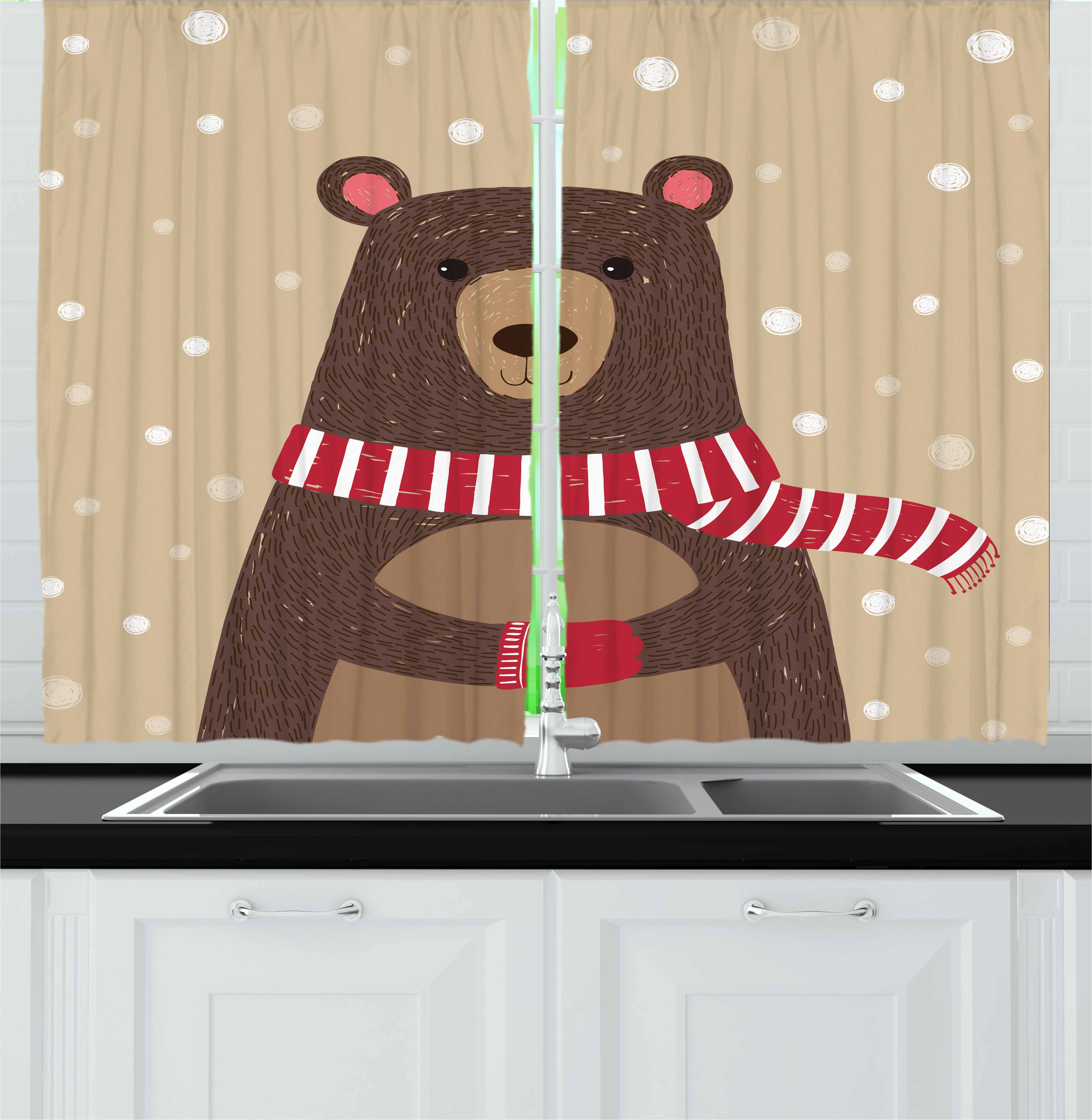Doodle Curtains 2 Panels Set, Cute Bear Wearing Red Scarf under Snow Winter Cold Weather Kids Playroom Print, Window Drapes for Living Room Bedroom, 55W X 39L Inches, Brown Sand Brown, by Ambesonne