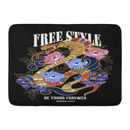 YUSDECOR White Bead Black Japan Design Clothers with Snake and Peony Patch Embroidery with Sequins Red Animal Rug Doormat Bath Mat 23.6x15.7 inch - image 1 of 1