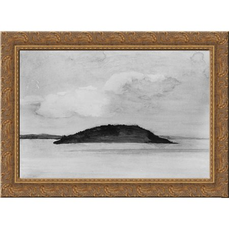 Sheep Porcupine Island  Bar Harbor  Maine  Evening Study  August 29  1896 24X19 Gold Ornate Wood Framed Canvas Art By Lafarge  John