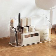 SUNFICON Makeup Tray Organizer Bathroom Cabinet Cosmetic Storage Tray Holder Countertop Vanity Makeup Display Tray Case with 9 Compartments 2 Removable Dividers for Beauty Essentials Crystal Clea