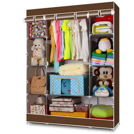 Ktaxon 4-Tier Portable Closet Storage Organizer Wardrobe Clothes Rack with Shelves
