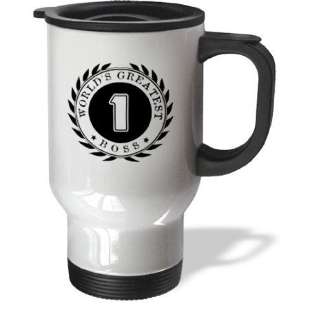 3dRose Worlds Greatest Boss award. #1 Boss. Fun Black and white badge graphic, Travel Mug, 14oz, Stainless Steel