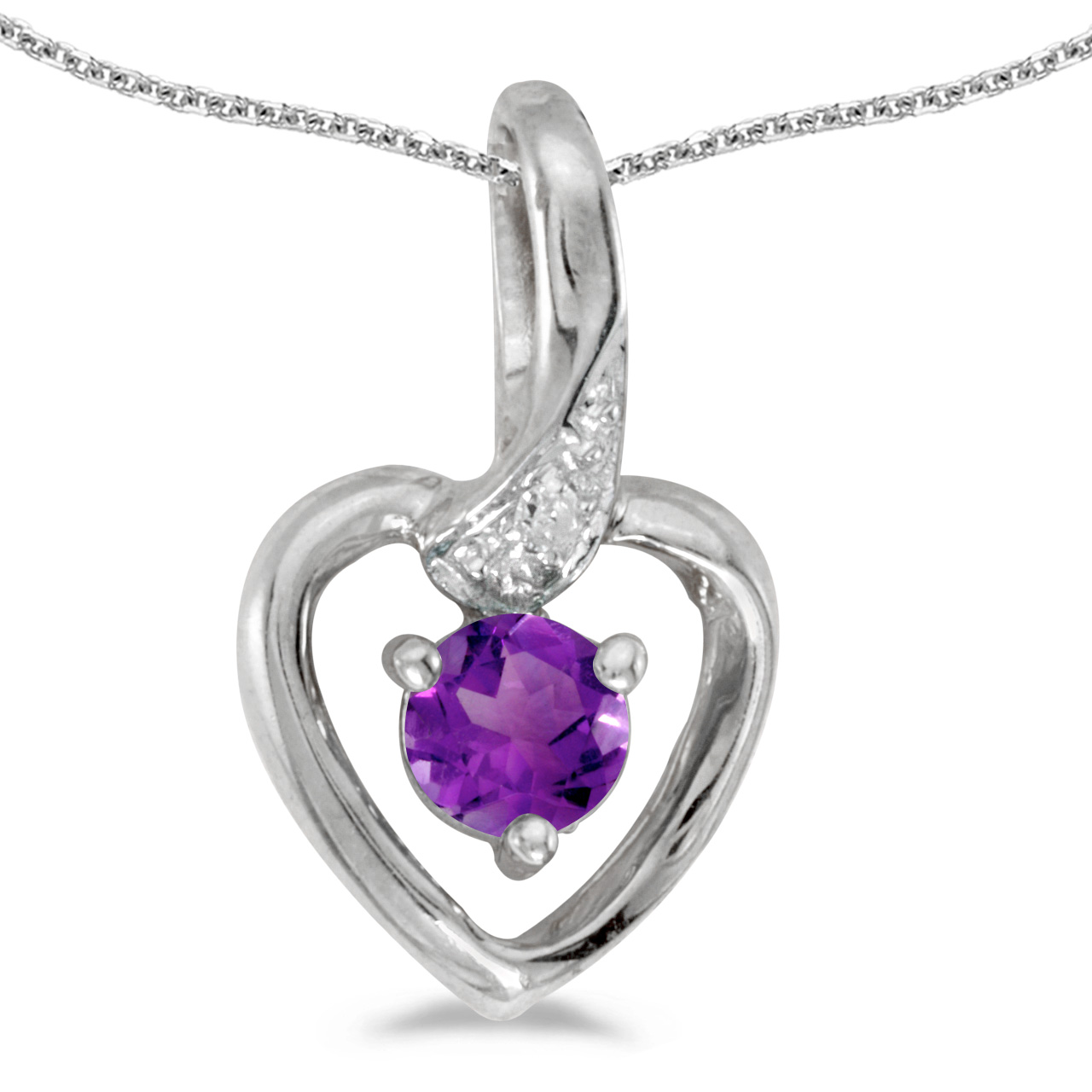 "10k White Gold Round Amethyst And Diamond Heart Pendant with 18"" Chain"