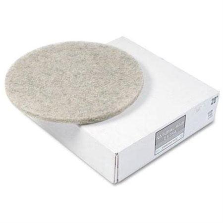 "Boardwalk Natural Hog Hair Burnishing Floor Pads, 20"" Diameter, 5/Carton -BWK4020NHE"
