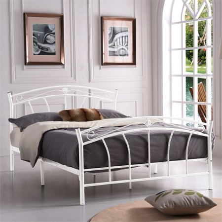 Pemberly Row Twin Metal Panel Bed in White - image 2 de 3